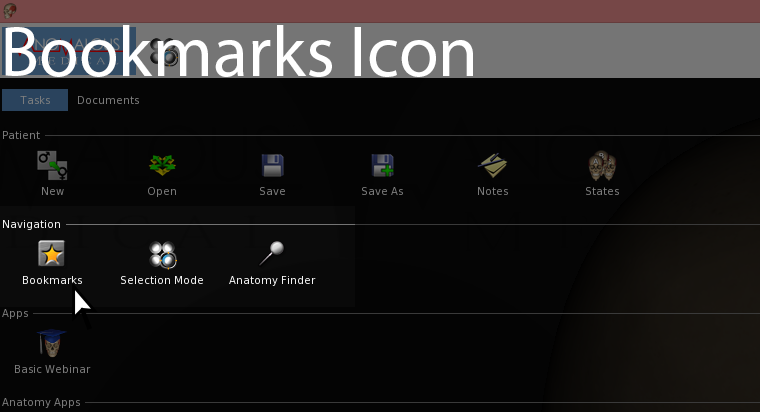 This screenshot shows the bookmarks icon.